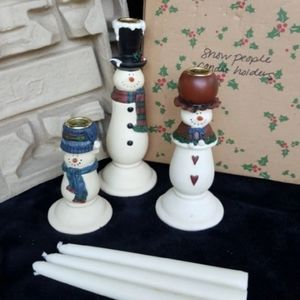 Porcelian Snow People Candle Holders